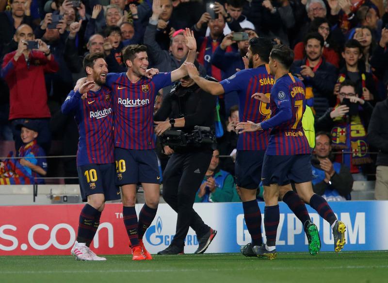 El Barça celebrando el tanto de Leo Messi