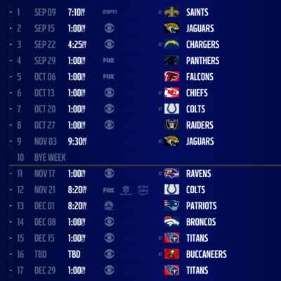 2019 NFL schedule release: Live updates