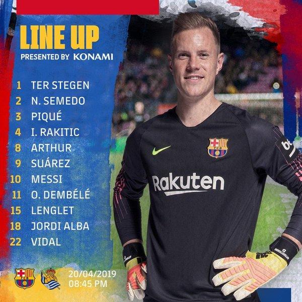 El once del Barça, en el twitter del club