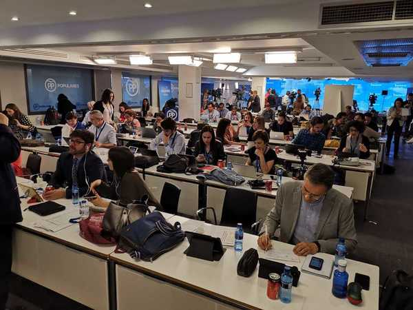 La sala de prensa de Génova