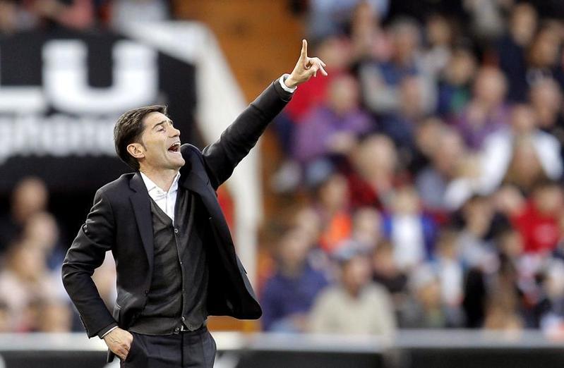 Marcelino en el partido ante el Sevilla