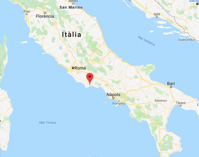 Situación geográfica de Terracina (provincia de Latina) final de la 5ª etapa del Giro. Conserva numerosos monumentos de su pasado romano y medieval y es una localidad conocida por sus balnearios.
