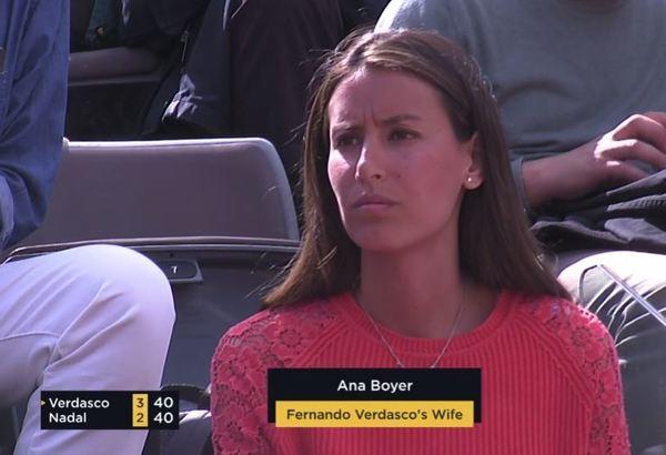 Ana Boyer, esposa de Fernando Verdasco. Sin el pequeño Miguel esta vez en la grada de Roma