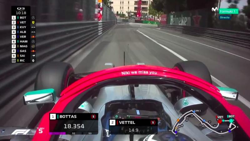 Dedicatoria de los Mercedes al fallecido Niki Lauda.