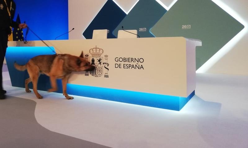 El perro policía Yogui inspecciona el centro de datos de Ifema en espera de la próxima rueda de prensa con los primeros datos de participación, a las 14.30h. EFE/María Traspaderne