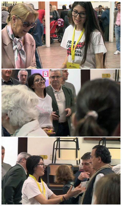 Rifirrafe en el mismo colegio electoral en el que ha votado Manuel Valls en Barcelona, Sant Miquel del Eixample: una apoderada de ERC ha tenido que darle la vuelta a su camiseta con un lema a favor de los presos independentistas tras una discusión con un apoderado de Vox. EFE