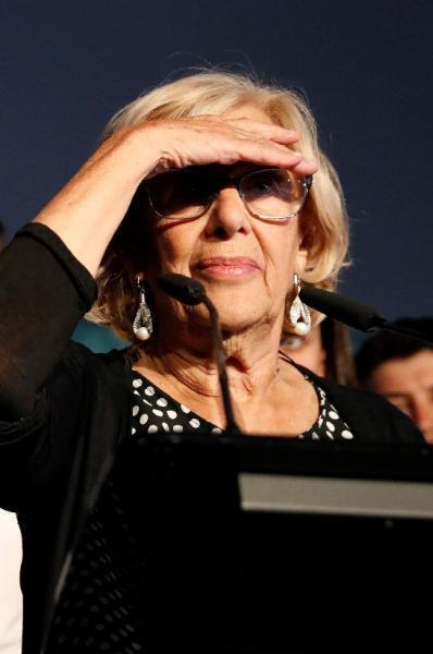 Madrid: Manuela Carmena pierde el Ayuntamiento con un 31,21 % de los votos y 19 concejales, con el 88,4 % de los resultados escrutados, ya que no alcanzaría la mayoría absoluta con la suma de los 8 del PSOE (14,18 % de votos). Con el PSOE sumaría 27 ediles, frente a los 30 del conjunto de PP, Ciudadanos y Vox. (EFE/Ballesteros)