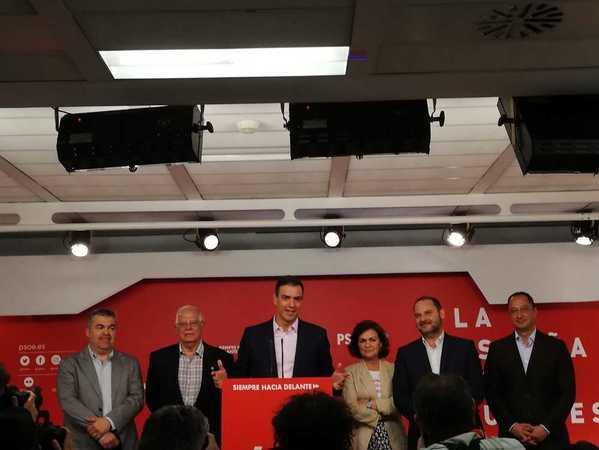 Pedro Sánchez habla en Ferraz tras conocerse los resultados: hemos ganado las elecciones europeas, autonómicas y municipales. Los españoles comparten el análisis, el diagnóstico y las recetas del partido socialista, ha afirmado. (Informa Laura Ramos)