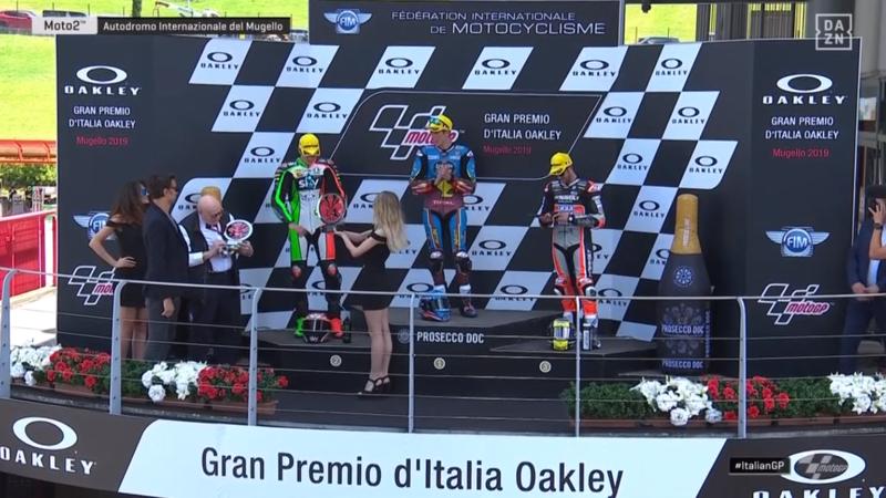 El podio de Moto2 en Mugello.