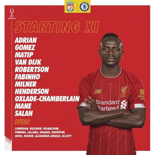 Así presenta el Liverpool a su once.