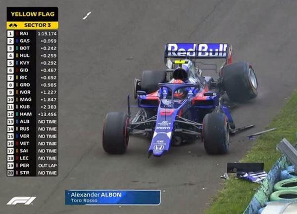 Alexander Albon, accidente con su Toro Rosso. Provoca la bandera roja.