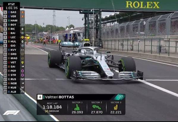 Valtteri Bottas lo prueba con neumáticos intermedios en su Mercedes.