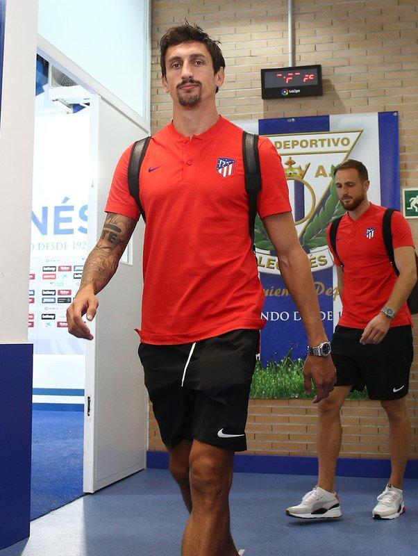 Los jugadores del Atlético ya llegaron a Butarque