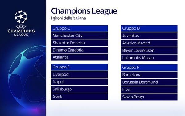 Calendario Napoli E Juve.Sorteggi Champions League I Gironi Di Juve Napoli Inter E