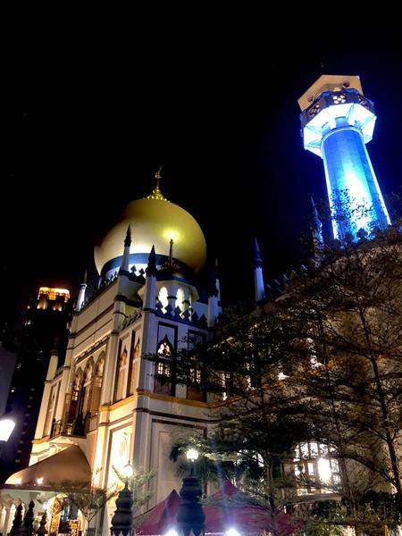 Quello che colpisce è la sua maestosa cupola dorata. All'interno vi è una sala della preghiera con un tappeto lungo più di 4 km che ne copre il pavimento quasi per intero, e dal cui soffitto pendono dei preziosi lampadari che ricordano quelli della Grande Moschea della Mecca.