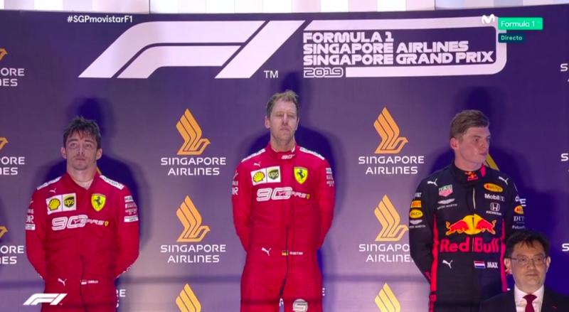 Vettel, emocionado en el podio.
