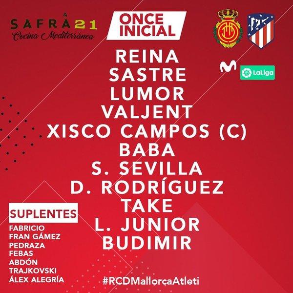 Por su parte, Vicente Moreno saldrá con los siguientes once jugadores al terreno de juego.