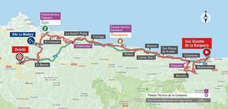 RECORRIDO DE LA 14ª etapa de la Vuelta. Por la costa prácticamente hasta el final