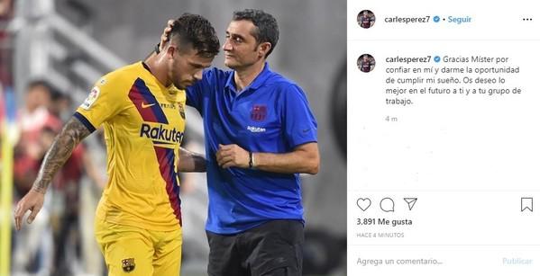 Carles Pérez ha publicado este mensaje en Instagram para despedirse de Valverde.