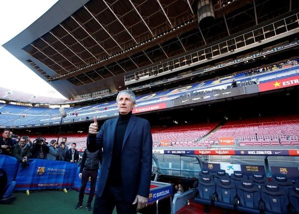 Setién, en el banquillo del Camp Nou