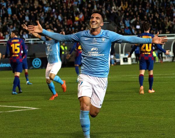 Javi Pérez celebra el gol del Ibiza en el minuto 9