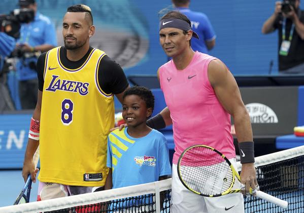 Kobe Bryant y Rafa Nadal, en la presentación de su partido FOTO: AP