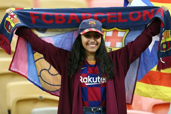 Una aficionada del Barça en el estadio FOTO: GETTY