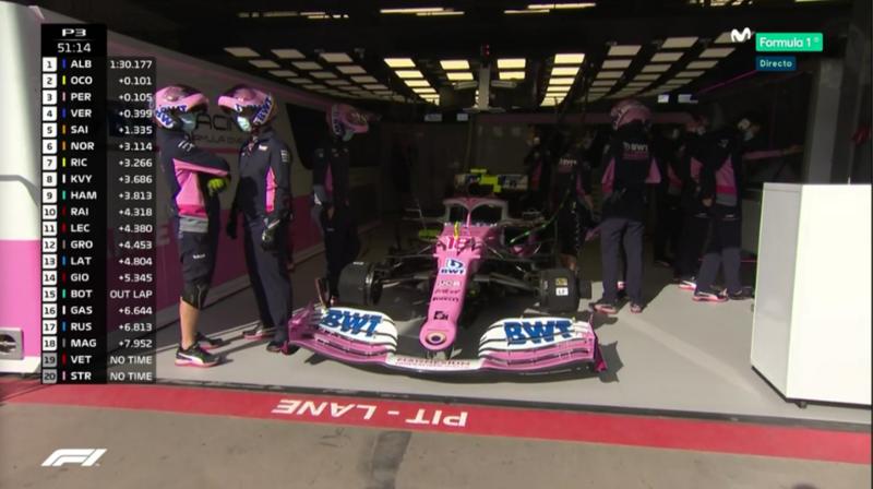 El coche de Stroll, listo, pero sin el piloto, que no saldrá a esta FP3 del GP de Eifel de F1 2020