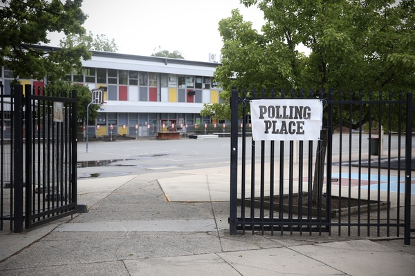 An empty polling place.