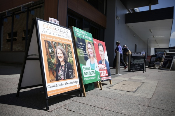 Signs outside a polling booth