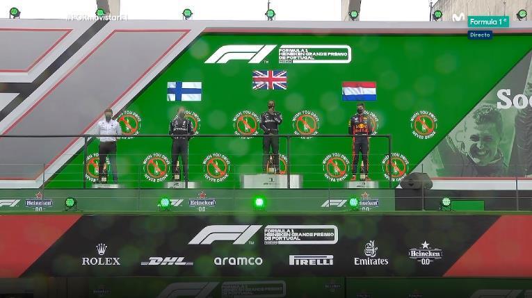 El podio del GP de Portugal