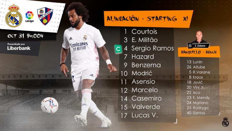 XI titular del Real Madrid ante el Huesca