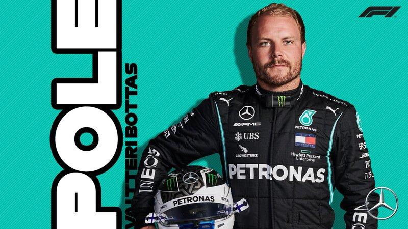 Valtteri Bottas, el poleman en el regreso de la Fórmula 1 a Imola. El finlandés ha marcado en morado los dos primeros sectores.