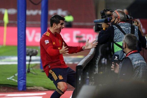 Así celebró Morata el 1-0.