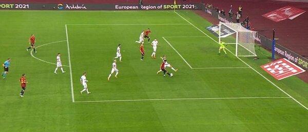 La posición de Morata en el gol anulado. No se aprecia fuera de juego.