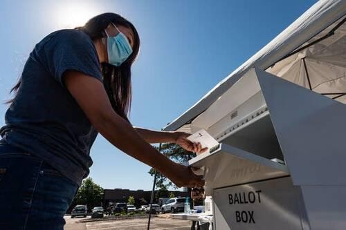 A person puts a ballot in a box.
