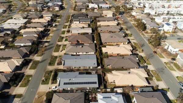 An aerial view of suburban houses