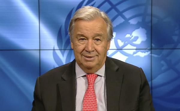 U.N. Secretary General Antonio Guterres speaks during the Online Platform Ministerial Meeting