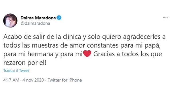 Il post di ringraziamento di Dalma Maradona