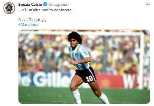 """Sui social sono migliaia i messaggi di affetto e incoraggiamento per il """"Diez"""": tra questi il post dello Spezia Calcio, attraverso il proprio account Twitter."""