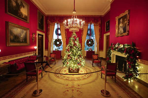 The Red Room of the White House is decorated during the 2020 Christmas preview