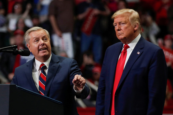 U.S. Senator for South Carolina Lindsey Graham speaks during U.S. President Donald Trump's campaign rally in Charlotte, North Carolina