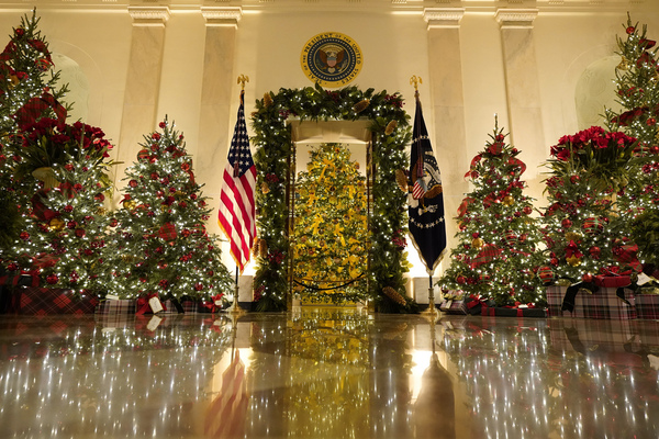 Cross Hall and the Blue Room are decorated during the 2020 Christmas preview at the White House