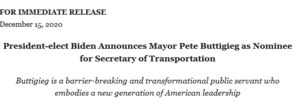 a screengrab of a joe biden statement announcing the appointment of Pete Buttigieg