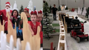 A side by side comparison of children on a sleigh, vs benches hooked up to a mobility scooter