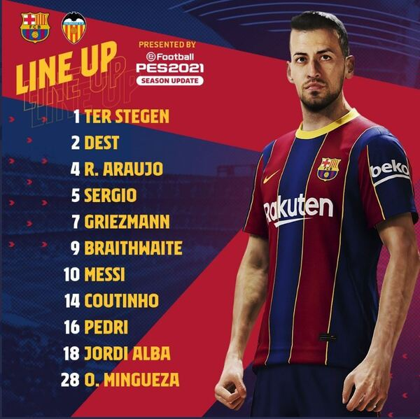 Alineaciones del Barça ante el Valencia