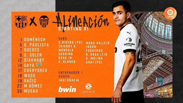 Once oficial del Valencia ante el FC Barcelona