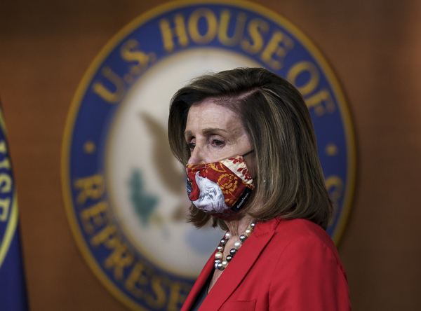 peaker of the House Nancy Pelosi, D-Calif., pauses as she meets with reporters