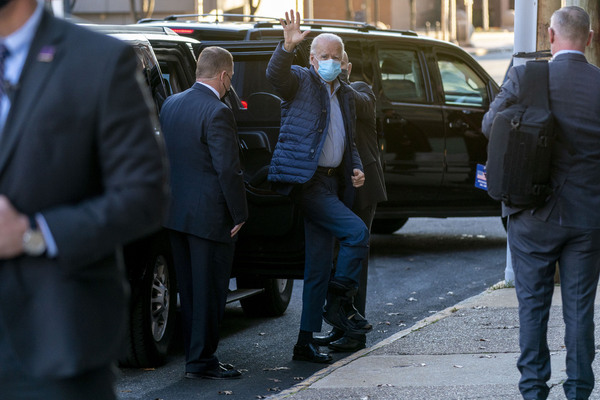 President-elect Joe Biden arrives at The Queen theater