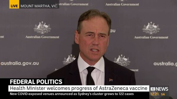 Federal Health Minister Greg Hunt at a press conference speaking to the media.